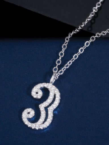 3 (including chain) Copper Cubic Zirconia Number Dainty Necklace