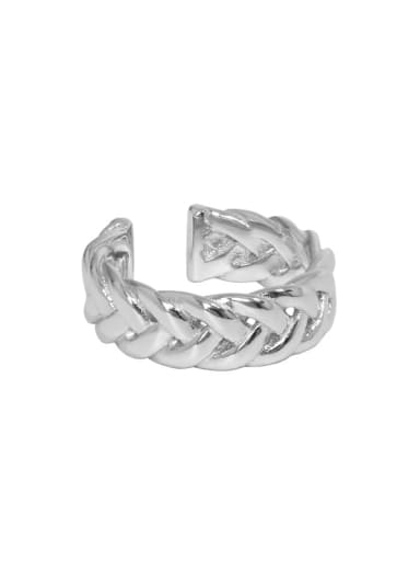 White gold [No. 13 adjustable] 925 Sterling Silver Hollow Geometric Vintage Band Ring