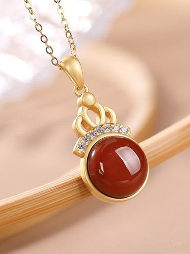 South Red 925 Sterling Silver Carnelian Geometric Vintage Necklace