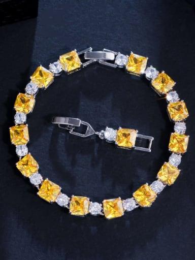 yellow Brass Cubic Zirconia Geometric Luxury Bracelet