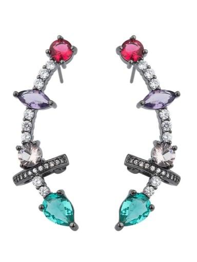 Copper Glass Stone  Geometric Luxury Ear Cuff Earring