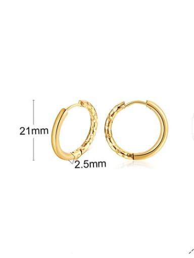 297 gold 21mm Titanium Steel Round Hip Hop Hoop Earring