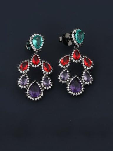 Black gold Brass Cubic Zirconia Multi Color Water Drop Luxury Chandelier Earring