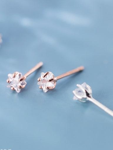 925 Sterling Silver Cubic Zirconia Flower Minimalist Chandelier Earring