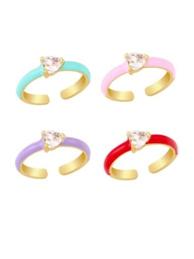 Brass Enamel Cubic Zirconia Heart Minimalist Band Ring