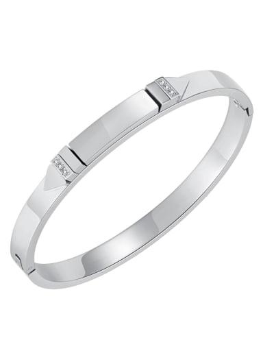 995 Steel Bracelet Titanium Steel Rhinestone Geometric Minimalist Band Bangle