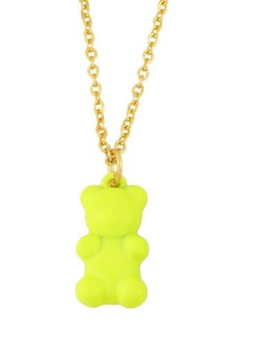 Brass Enamel Cute Bear Pendant Necklace