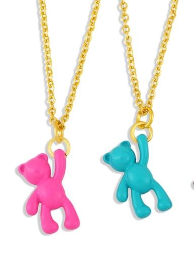 Brass Multi Color Enamel  Cute Bear Pendant Necklace