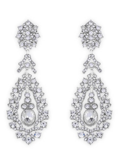 platinum Alloy Cubic Zirconia Water Drop Vintage Drop Earring