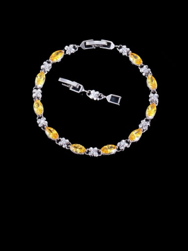 yellow Brass Cubic Zirconia Geometric Luxury Bracelet