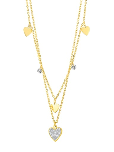 2039 gold necklace Titanium Steel Rhinestone Heart Minimalist Multi Strand Necklace