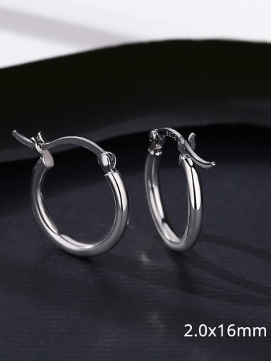 14 17D09 925 Sterling Silver Smooth Round Minimalist Hoop Earring