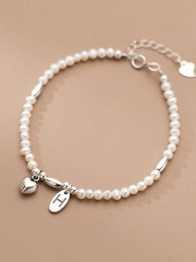 925 Sterling Silver Freshwater Pearl Geometric Minimalist Stretch Bracelet
