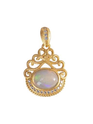 925 Sterling Silver Opal Vintage Irregular  Pendant