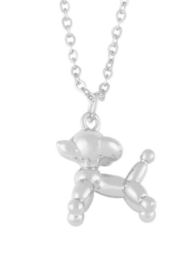 silver Brass Cartoon animal Dog Cute Necklace