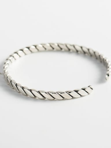 925 Sterling Silver  Simple retro twist  Geometric bracelet