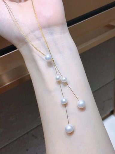 Gold 1 Brass Freshwater Pearl Minimalist Choker Necklace