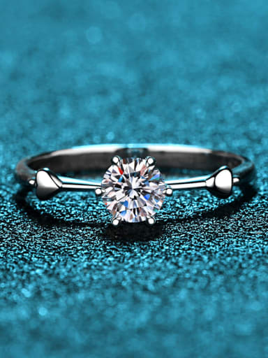 Sterling Silver Moissanite  Heart Dainty Solitaire Engagement Rings