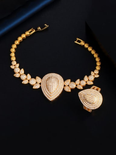 Copper Cubic Zirconia  Luxury Water Drop  Ring and Bangle Set
