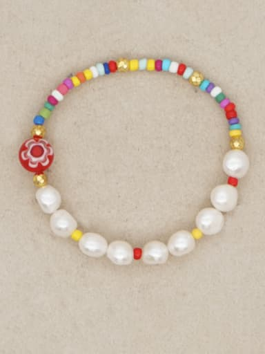 Stainless steel Freshwater Pearl Multi Color Round Minimalist Stretch Bracelet