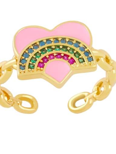 Pink Brass Enamel Rainbow Vintage Band Ring
