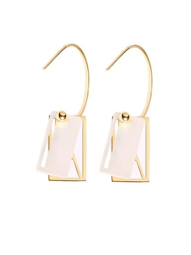 925 Sterling Silver Shell Geometric Minimalist Hook Earring