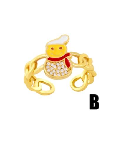 yellow Brass Enamel Cubic Zirconia Icon snowman Trend Band Ring