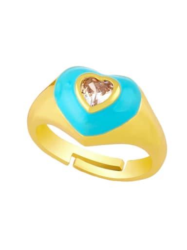 Sky blue Brass Enamel Cubic Zirconia Heart Hip Hop Band Ring
