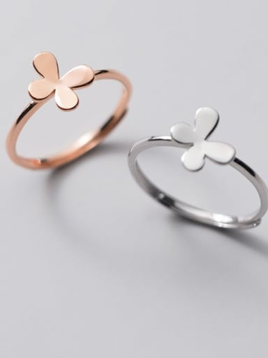 925 Sterling Silver Butterfly Minimalist Band Ring