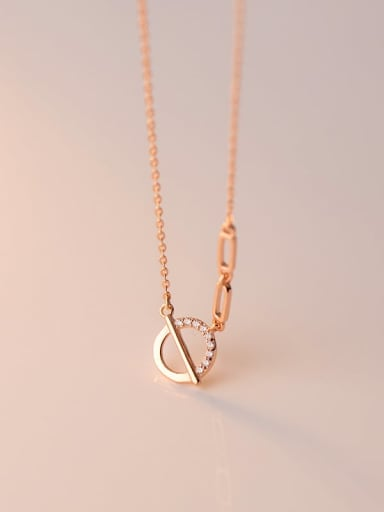 rose gold 925 Sterling Silver Hollow Geometric Minimalist Necklace