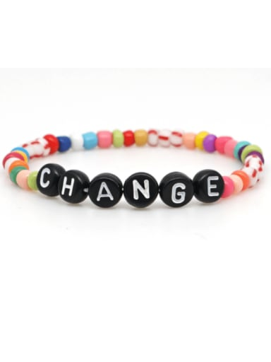 B B190072A Stainless steel MGB  Bead Multi Color Letter Bohemia Stretch Bracelet