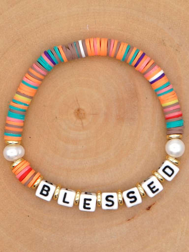 QT B200146D Stainless steel Freshwater Pearl Multi Color Polymer Clay Letter Bohemia Handmade Weave Bracelet