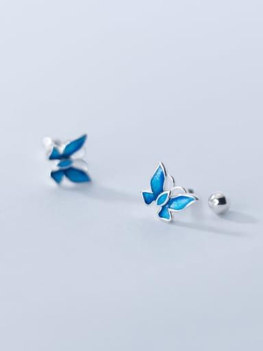 925 Sterling Silver Enamel Butterfly Minimalist Stud Earring