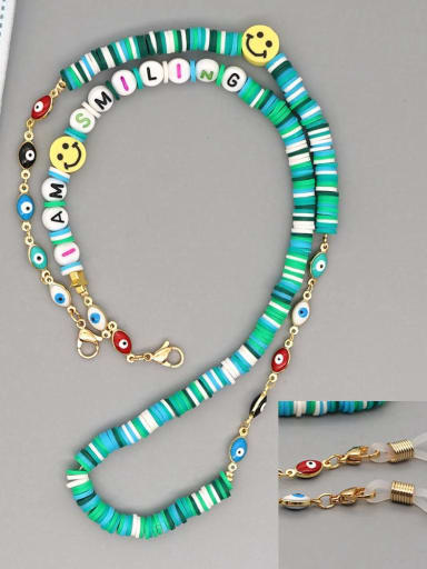 RT N200007D Stainless steel Multi Color Polymer Clay Smiley Bohemia Beaded  Hand-woven Necklace