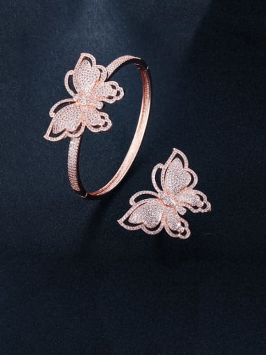 Rose Gold US 7 Brass Cubic Zirconia Luxury Butterfly  Ring and Bangle Set