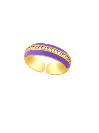 purple Brass Enamel Geometric Hip Hop Band Ring