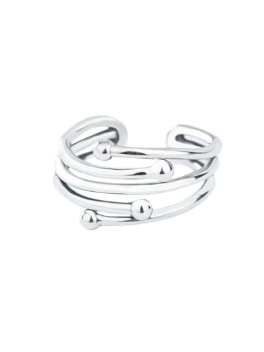 925 Sterling Silver Round Bead  Vintage Cross Line Stackable Ring