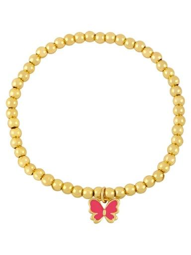 Rose red Brass Enamel Butterfly Minimalist Beaded Bracelet
