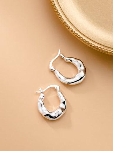 925 Sterling Silver Irregular Minimalist Huggie Earring