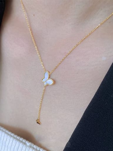 Titanium Shell Butterfly Minimalist Lariat Necklace