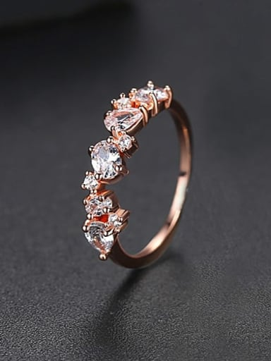 Rose gold  US 5 Copper Cubic Zirconia Irregular Minimalist Band Ring