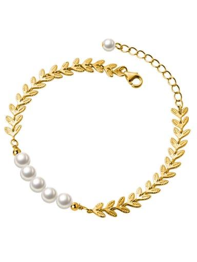 925 Sterling Silver Imitation Pearl Leaf Minimalist Bracelet
