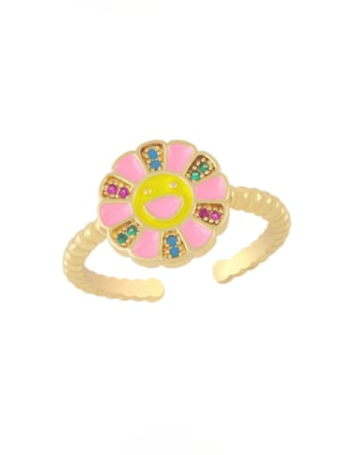 Pink Brass Enamel Smiley Flower Minimalist Band Ring