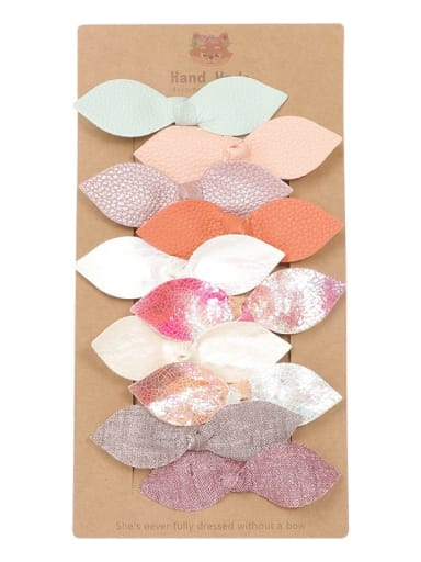 1 one card, 10 hairpins, Alloy  Leather Cute Bowknot Multi Color Hair Barrette
