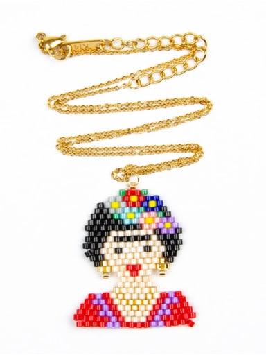 MI N180241A Stainless steel Multi Color Miyuki beads Icon Bohemia Pure handmade, Necklace
