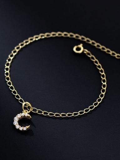 925 Sterling Silver Cubic Zirconia Round Minimalist Strand Bracelet