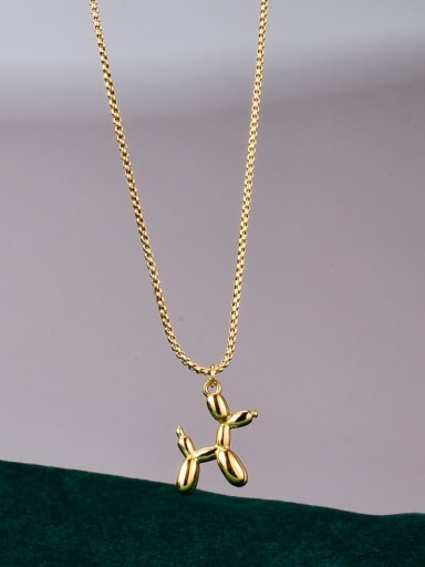 Titanium Cute  Smooth Dog pendant Necklace