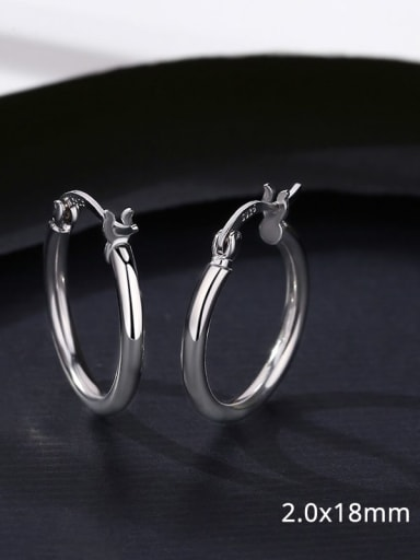 16 17D10 925 Sterling Silver Smooth Round Minimalist Hoop Earring