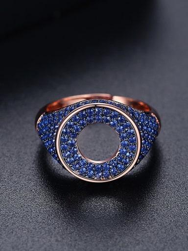 Blue zirconium t17a20 Brass Cubic Zirconia Geometric Minimalist Band Ring