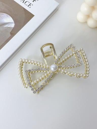 Bow Pearl Rhinestone 9.5cm Alloy Imitation Pearl  Minimalist Butterfly Jaw Hair Claw